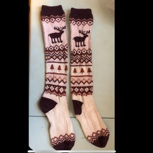 Woman's Thick Wool Tall Cranberry Moose Socks